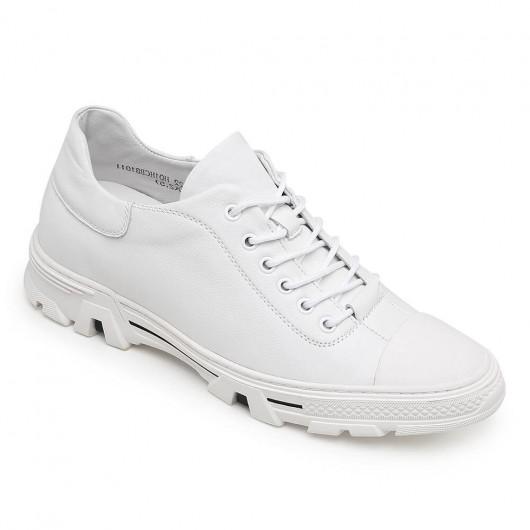 CHAMARIPA scarpe con rialzo sneakers in pelle bianca sneakers rialzate diventare piu alti 6 CM