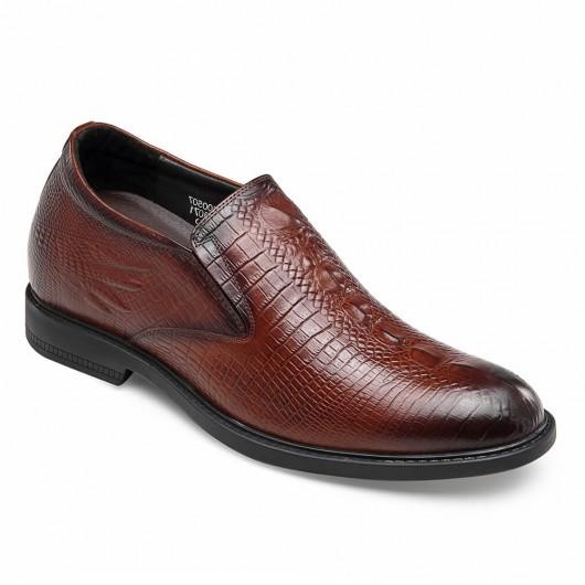 CHAMARIPA scarpe con rialzo mocassino marrone slip on scarpe rialzate aumentare altezza 6 CM