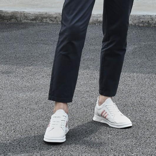 CHAMARIPA sneakers con rialzo interno scarpe per alzare statura scarpe rialzanti uomo sneakers in pelle bianca 6 CM