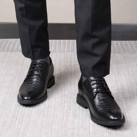 CHAMARIPA scarpe uomo tacco alto nero pelle scarpe con rialzo interno per uomini bassi aumentare statura 7CM
