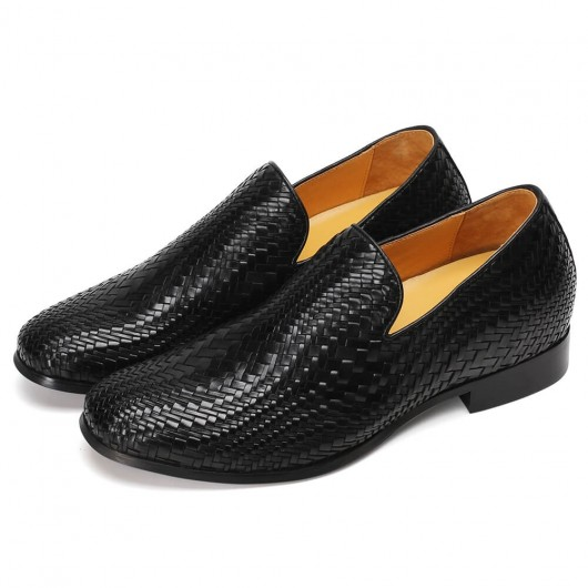CHAMARIPA scarpe con rialzo interno uomo mocassini tessuti a mano nero scarpe rialzate uomo 7CM