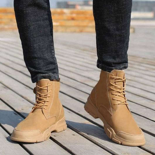 CHAMARIPA scarpe con rialzo interno stivaletti con tacco interno stivali casual marroni 7CM