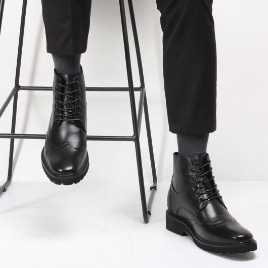 CHAMARIPA scarpe con rialzo stivali rialzate uomo in pelle nero stivaletti uomo tacco alto 7 CM