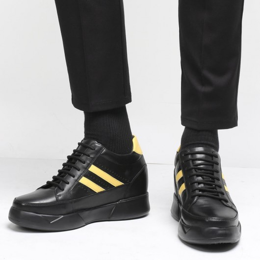 CHAMARIPA scarpe con rialzo interno uomo sneakers con tacco interno scarpe rialzanti uomo nero 10CM