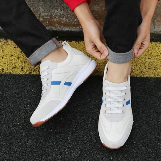 CHAMARIPA scarpe con rialzo interno uomo sneakers in pelle bianca scarpe con zeppa interna 7CM Più Alto