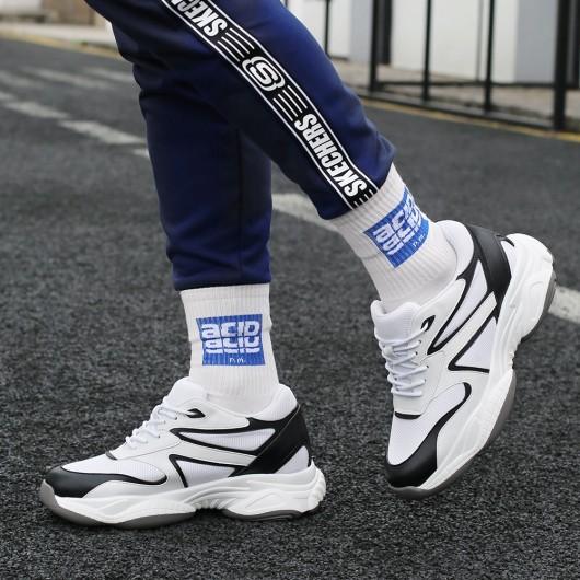 CHAMARIPA scarpe con rialzo interno - sneakers con tacco interno - scarpe da ginnastica in maglia bianca 8 CM più alte