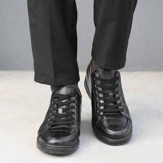 Chamaripa scarpe con rialzo interno uomo casual scarpe con zeppa alta in pelle nero diventare più alti 6CM