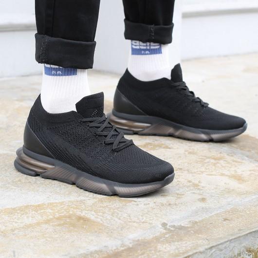 CHAMARIPA scarpe uomo con rialzo - sneakers con rialzo interno - scarpe da ginnastica rialzate nero 7 CM