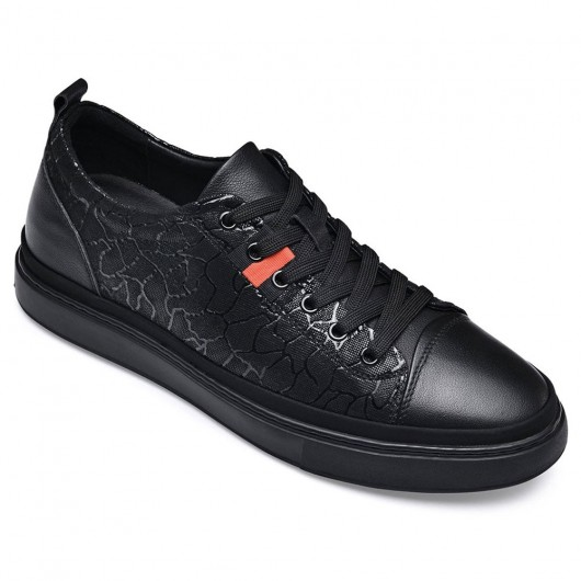 CHAMARIPA scarpe rialzate per uomo scarpe casual in pelle nero sneakers con tacco interno 5 CM