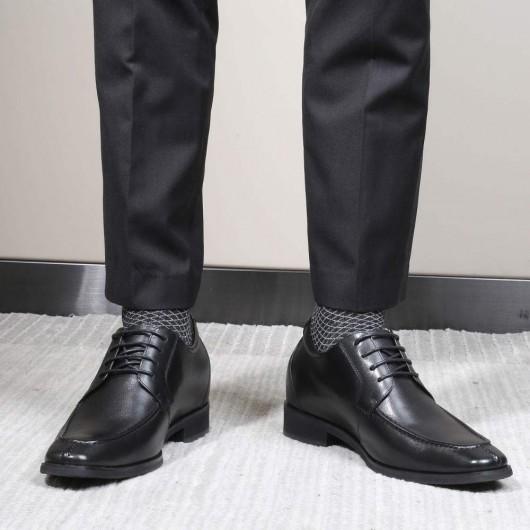 CHAMARIPA scarpe rialzate nero uomo scarpe eleganti con tacco interno diventare piu alti 7 CM