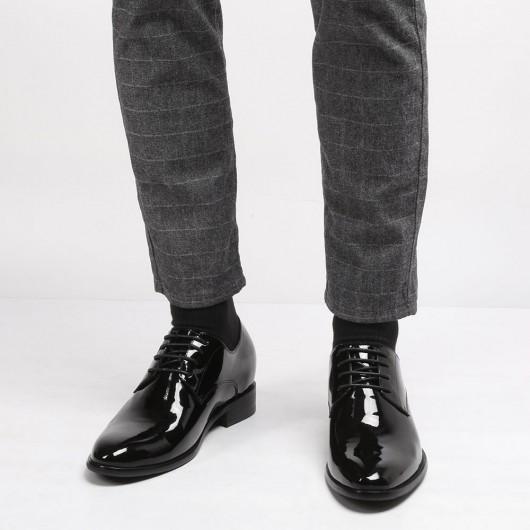 CHAMARIPA scarpe uomo rialzo interno - scarpe rialzate uomo -scarpe da smoking di vernice nero 8CM più alto