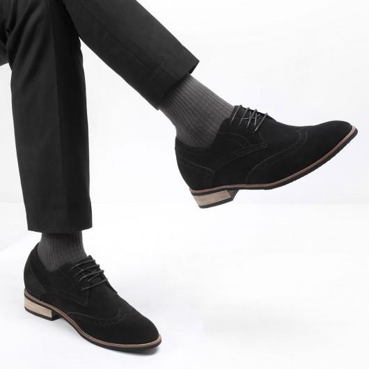 CHAMARIPA scarpe con rialzo interno scarpe eleganti con tacco interno uomo francesine in camoscio nero 8CM