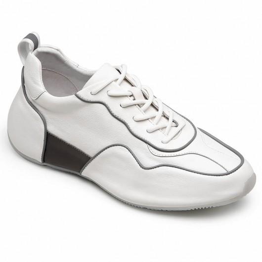 CHAMARIPA scarpe con rialzo sneakers rialzate in pelle bianca che ti fanno più alto 5 CM
