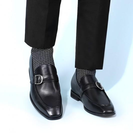 CHAMARIPA scarpe con rialzo uomo - mocassini rialzate uomo - scarpe suola alta uomo di pelle nero 6 CM