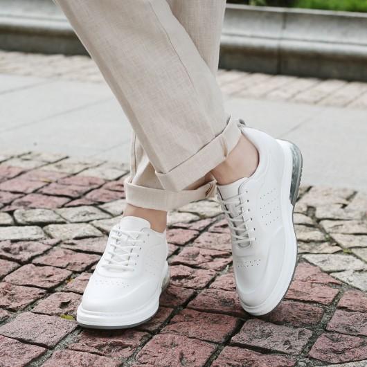 CHAMARIPA sneakers con tacco interno - scarpe con rialzo interno uomo- scarpe casual bianche 7CM