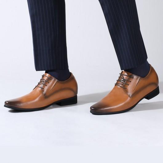 Chamaripa scarpe rialzate uomo scarpe con rialzo uomo scarpe derby marroni per alzare statura 8CM