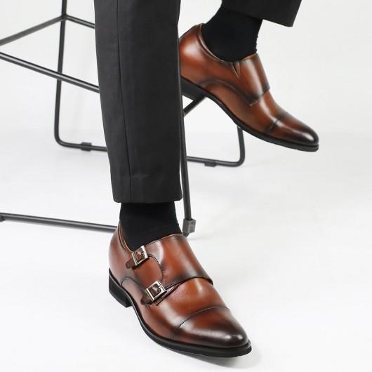 CHAMARIPA scarpe rialzanti uomo scarpe uomo con rialzo scarpe oxford in pelle marrone Monk strap 7CM