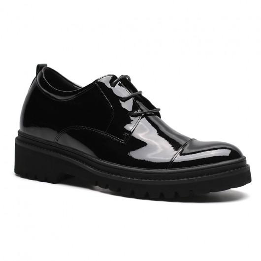 Chamaripa scarpe rialzate eleganti scarpe con rialzo nere scarpe vernice uomo aumentare statura 9 CM