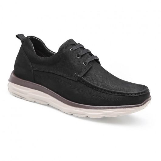 Chamaripa scarpe con rialzo interno scarpe rialzo comode uomo nero scarpe da passeggio 6 CM