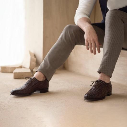 Chamaripa scarpe rialzate uomo Oxford tomaia in pelle intrecciata marrone scarpe con tacco interno 7CM