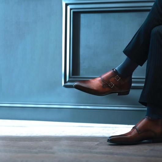 CHAMARIPA scarpe con rialzo chukka stivali marrone stivaletti con tacco interno 7CM