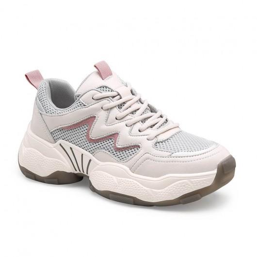 Chamaria scarpe con rialzo interno donna scarpe rialzate donna beige chunky sneakers 5CM