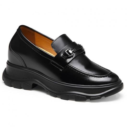CHAMARIPA scarpe rialzate donna scarpe mocassini con rialzo da donna nero diventare alti 8CM