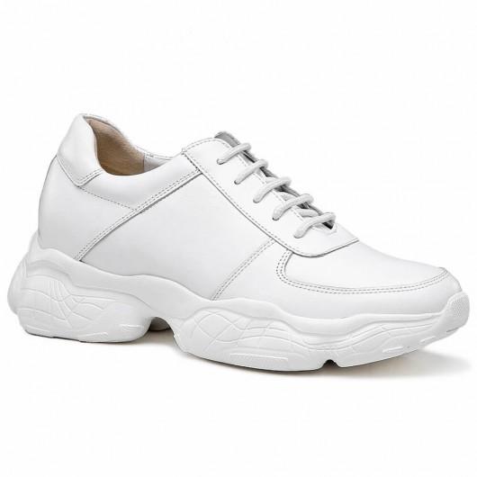 Chamaripa scarpe ginnastica con tacco interno sneakers tacco interno sneakers rialzate uomo Bianco 7 CM