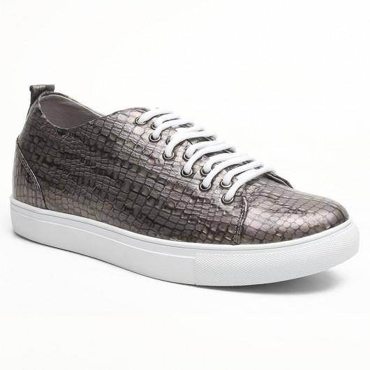 Chamaripa scarpe ginnastica con tacco interno solette rialzate per scarpe scarpe da skate uomo grigio 6 CM
