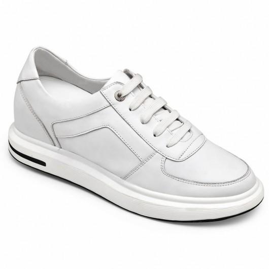 CHAMARIPA sneakers con tacco interno scarpe con rialzo interno uomo pelle di vitello bianca 7 CM