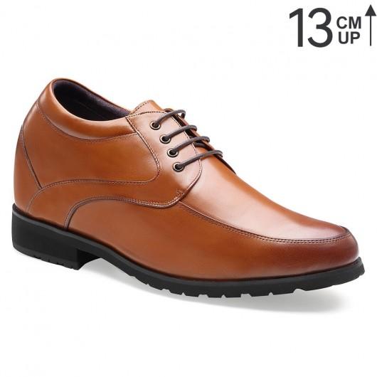 Chamaripa scarpe con rialzo 13 CM marrone scarpe uomo rialzo interno scarpe di pelle