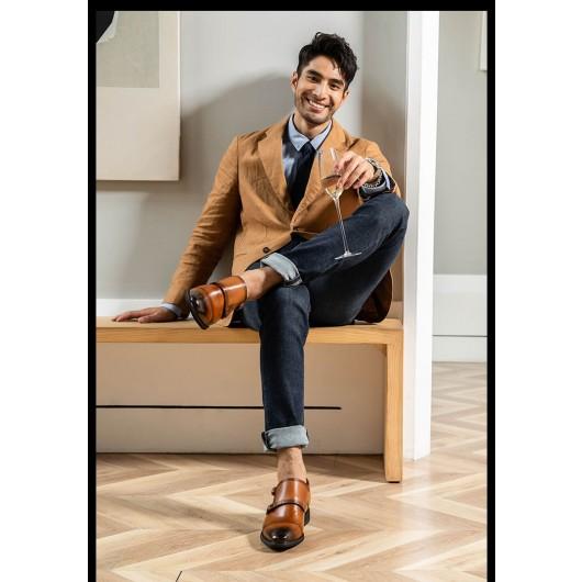 Chamaripa scarpe con rialzo interno scarpe da uomo rialzate scarpe double monk con tacco interno 7 CM