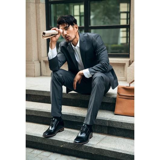 Chamaripa scarpe eleganti uomo rialzate scarpe con rialzo interno rialzo scarpe uomo nero 7 CM