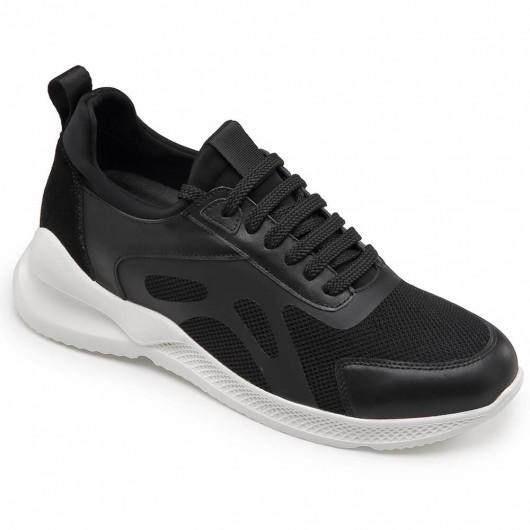 CHAMARIPA scarpe con rialzo interno sneakers con tacco interno sneaker in pelle nero 7CM