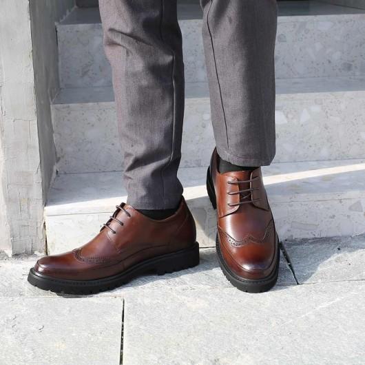 Chamaripa scarpe con rialzo economiche marrone scarpe rialzate scarpe brogue con tacco interno 7 CM