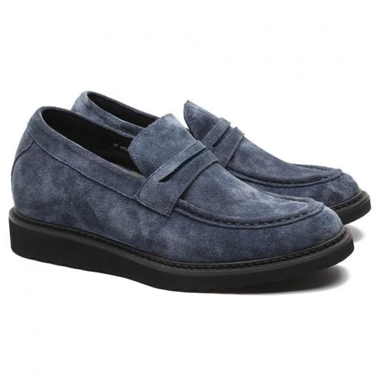 CHAMARIPA scarpe rialzate uomo mocassino in camoscio blu scuro ti fanno più alto 7CM