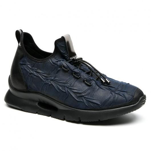 Chamaripa scarpe da ginnastica blu che rendono più alti scarpe sportive con rialzo interno scarpe sportive con zeppa 7 CM