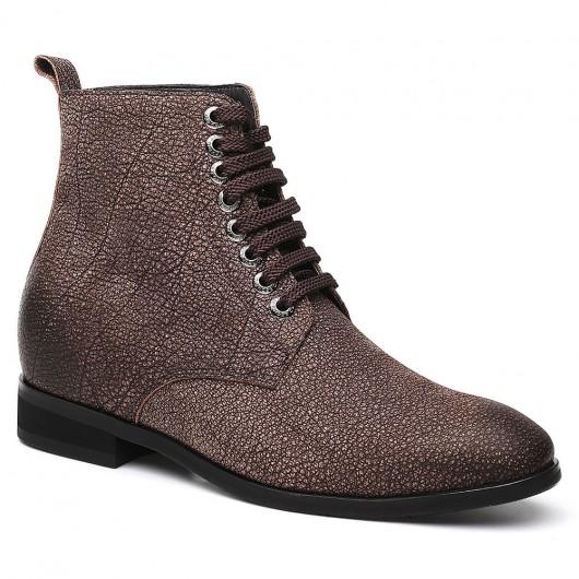 Chamaripa scarpe da uomo con tacco alto stivali scarpe marrone scuro che aggiungono altezza 7 CM