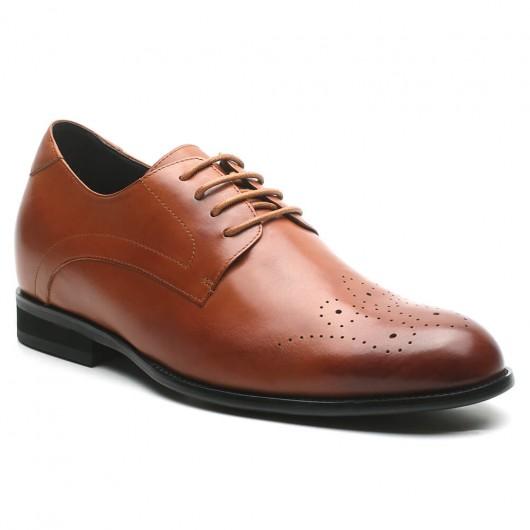Chamaripa scarpe classiche da uomo con tacco alto scarpe rialzanti uomo scarpe derby marroni 7 CM