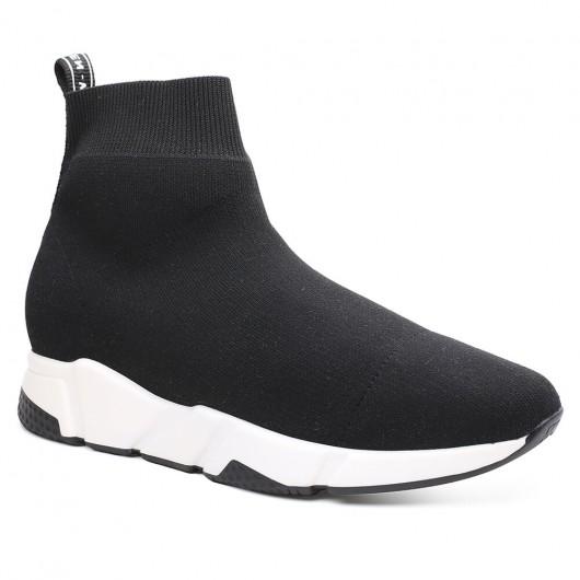 Chamaripa scarpe rialzate ragazza scarpe da donna alte sneakers alte nere in maglia 7 CM