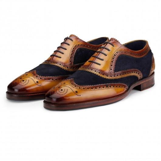 CHAMARIPA scarpe con rialzo interno - fatto a mano Oxford Brogue - Camoscio blu scuro - 7 CM
