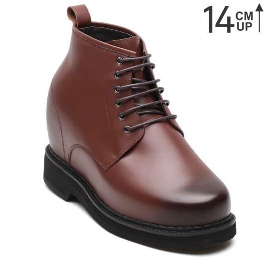 Chamaripa scarpe uomo rialzo interno scarpe uomo tacco alto scarpe rialzanti Scarpe stringate in pelle marrone scuro 14CM