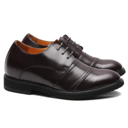 CHAMARIPA scarpe con rialzo interno scarpe scarpe casual in pelle marrone 6CM