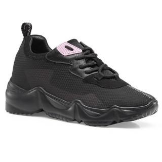CHAMARIPA scarpe con rialzo donna scarpe rialzate ragazza sneakers in maglia nero da donna 7 CM