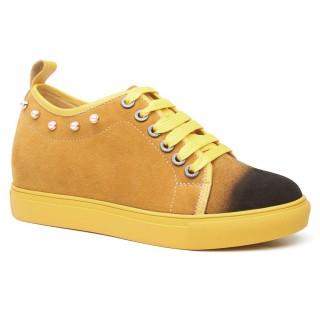 Chamaripa tacco interno scarpe donna sneakers donna con rialzo scarpe da skate in pelle scamosciata gialla 7 CM