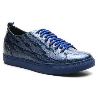 Chamaripa 6 CM sneaker con rialzo interno sneakers tacco interno scarpe da ginnastica blu