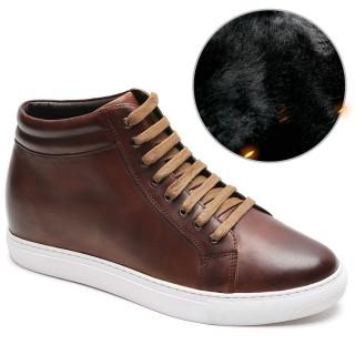 Chamaripa scarpe rialzate scarpe con rialzo interno uomo marrone scarpe da ginnastica alte scarpe invernali 7CM