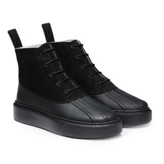 CHAMARIPA sneakers con tacco interno donna - sneakers alte con zeppa donna - stivali rialzati in camoscio nero 7 CM
