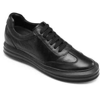 CHAMARIPA scarpe con rialzo interno scarpe rialzate uomo casual in pelle nero diventare più alti 7CM