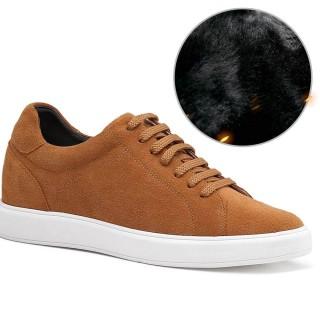 Chamaripa casual scarpe con rialzo interno in pelle scamosciata marroni classiche scarpe da ginnastica con tacco interno 7CM